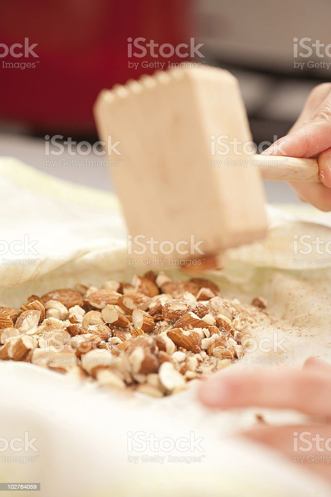 Crushing Almonds royalty-free stock photo