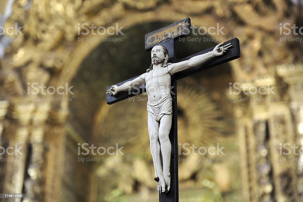 Crusifix in front of altar royalty-free stock photo