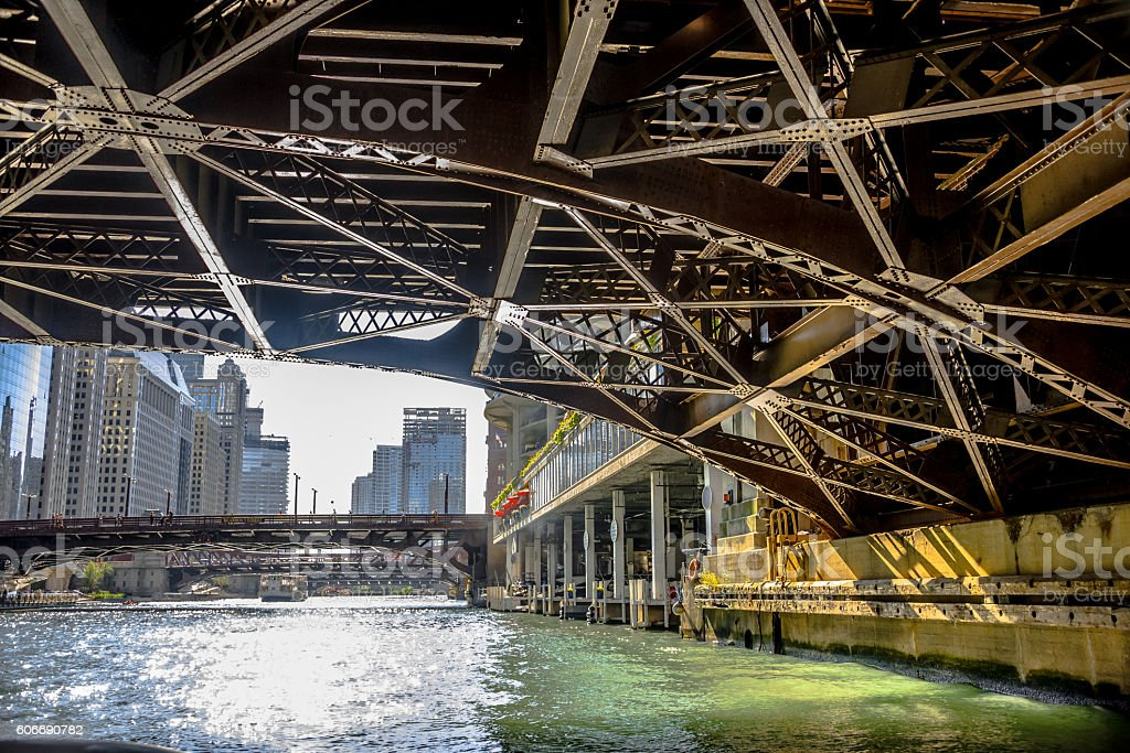 Crusing on Chicago River stock photo