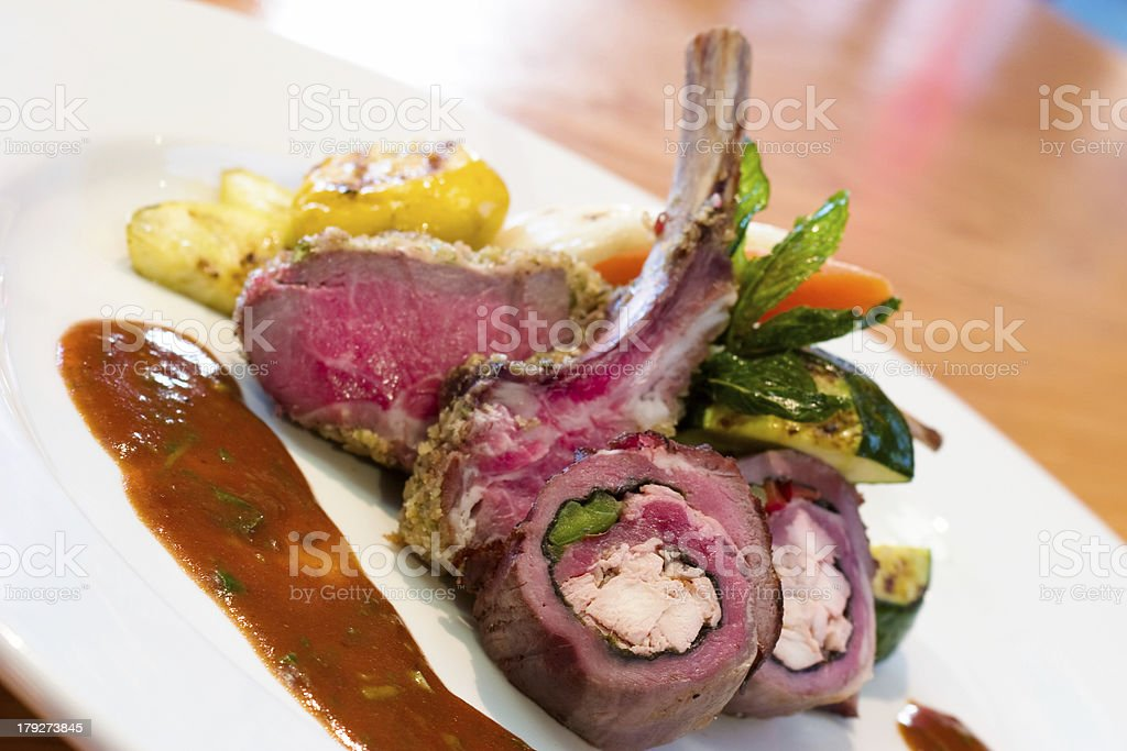 Crusted Stuffed Lamb Chops royalty-free stock photo