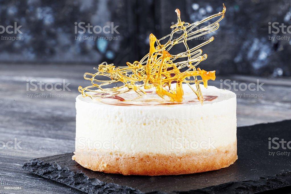 crusty crisp Chips Caramel decoration decor cake with layers of stock photo