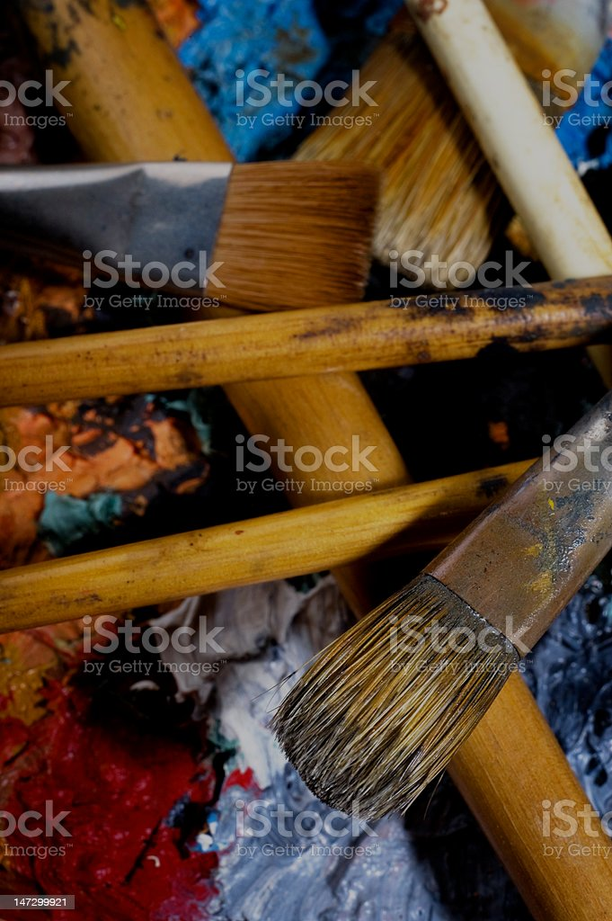 Crusty Paint Brushes royalty-free stock photo