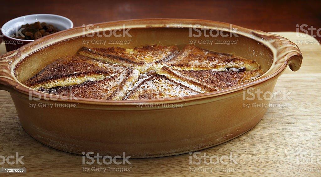 Crusty toast pudding stock photo