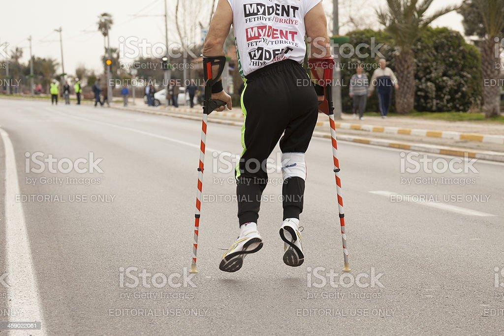 Crutches Athlete royalty-free stock photo