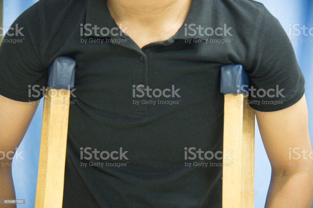 crutches in hospital on blur background. stock photo