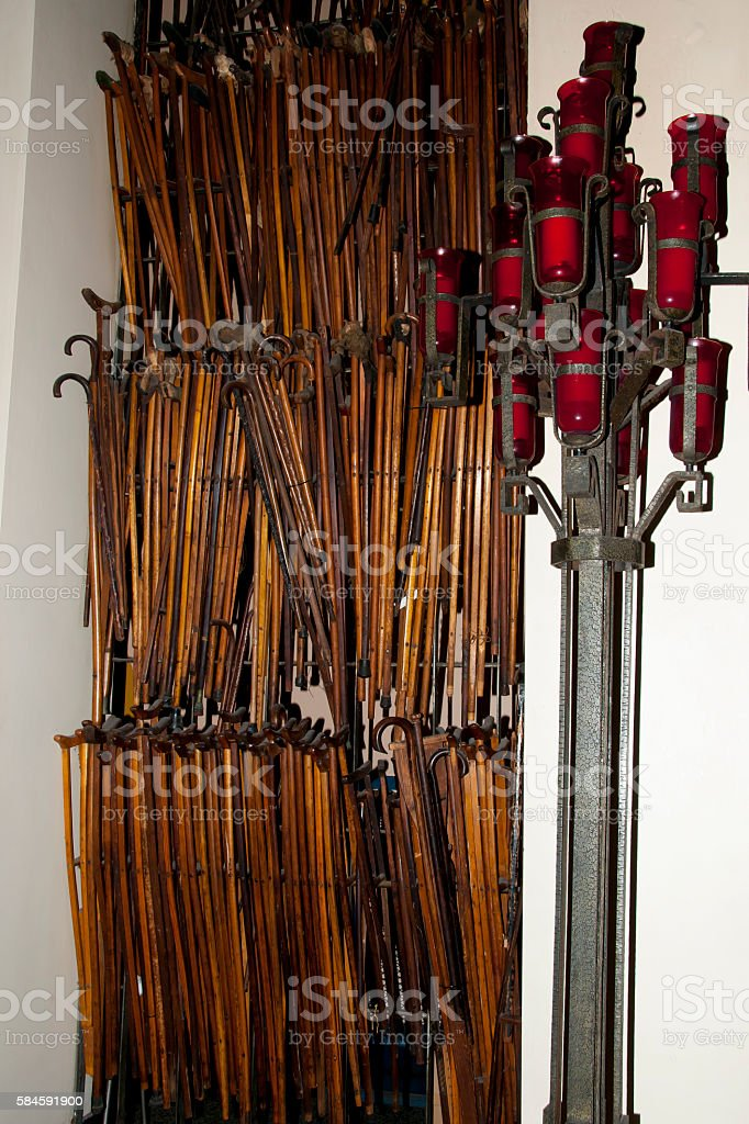 Crutches in St Joseph Oratory - Montreal - Canada stock photo