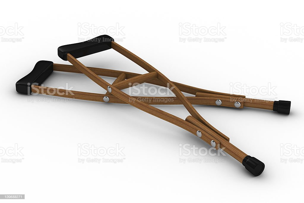 Crutches on white background. Isolated 3D image royalty-free stock photo