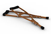 Crutches on white background. Isolated 3D image