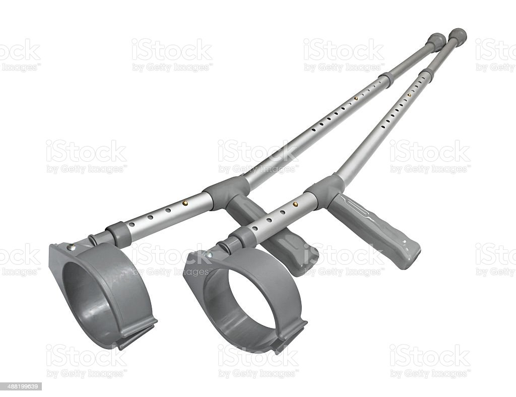 Crutches pair isolated stock photo