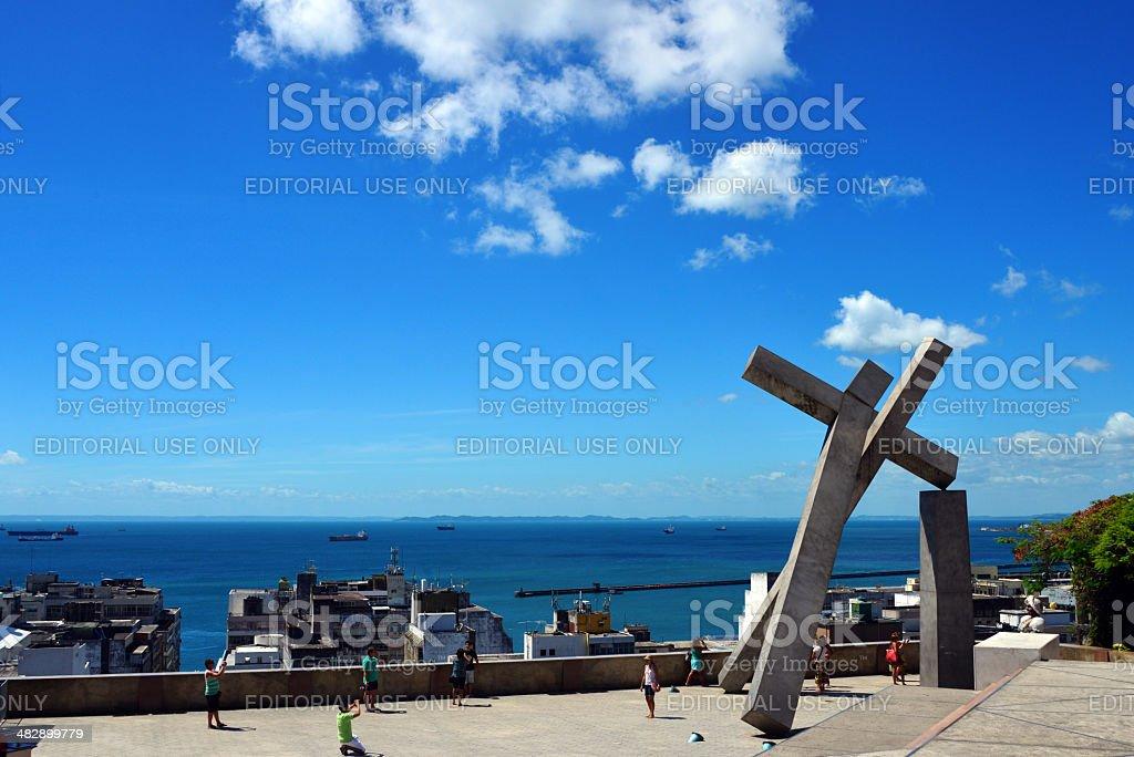 Cruz Caida square, Salvador da Bahia, Brazil stock photo