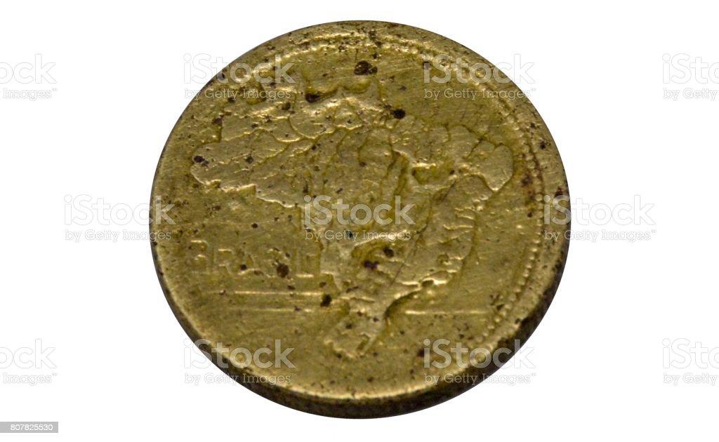 1 Cruzeiro coin, Brazil, Year 1947, New Republic, bronze aluminum, obverse, isolated on white background stock photo