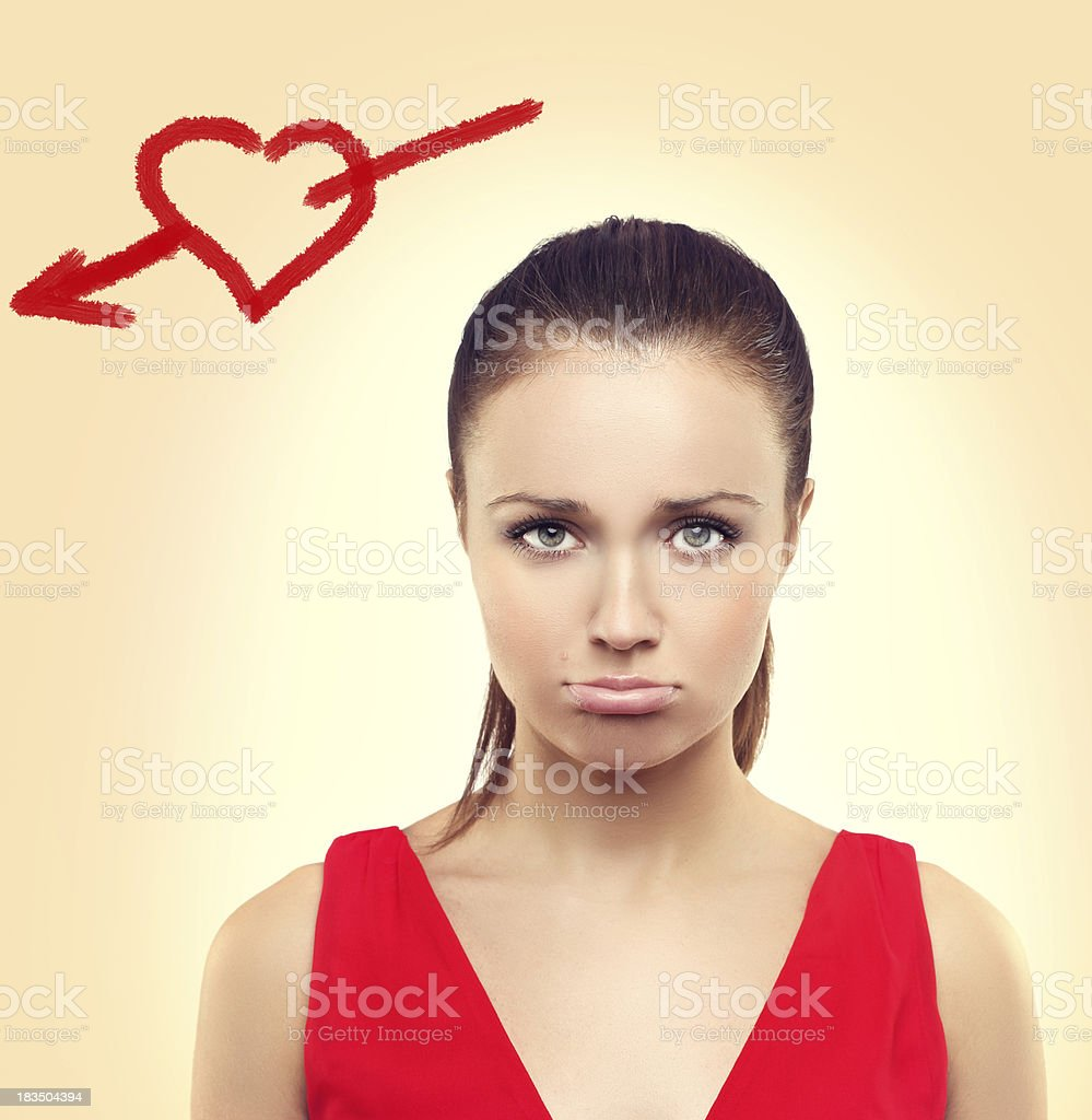 Cry woman with painted heart royalty-free stock photo