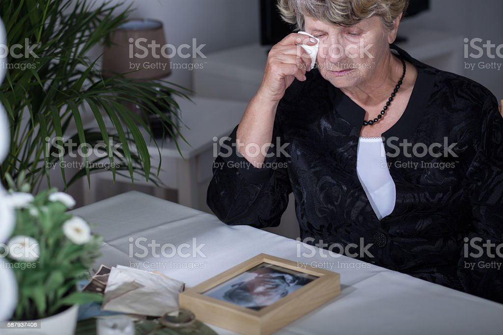 Crying after husband stock photo