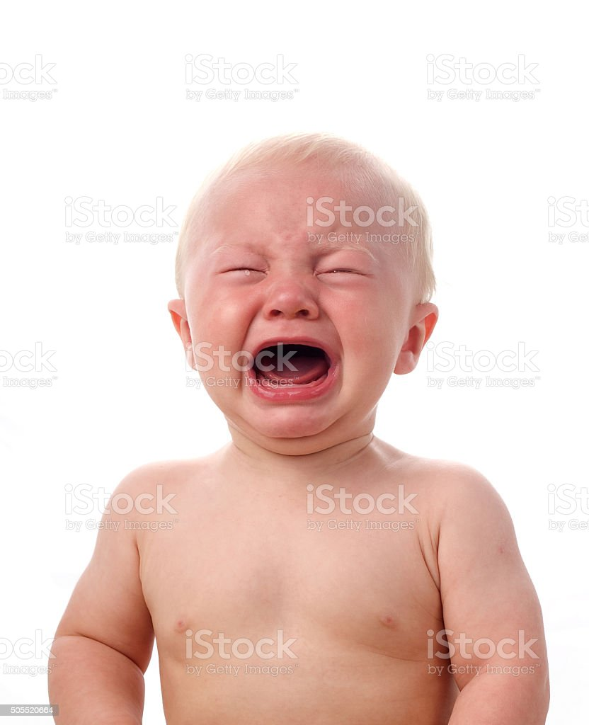Crying boy isolated on white stock photo