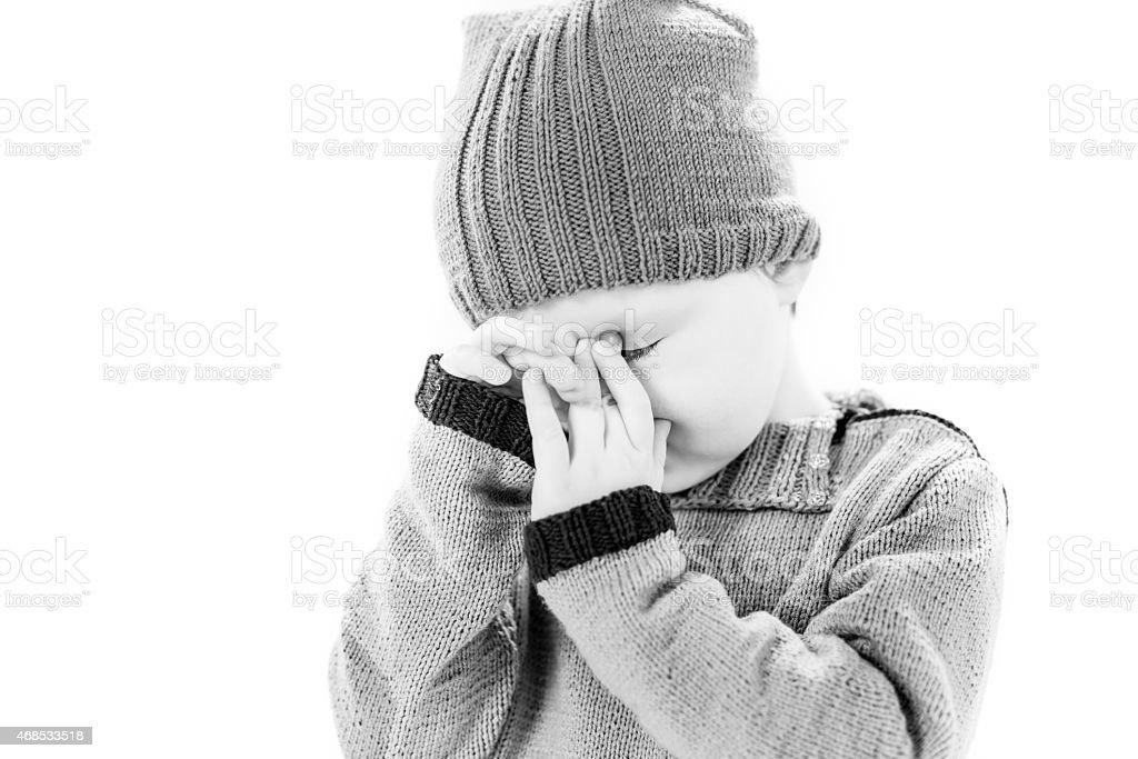 crying boy portrait stock photo