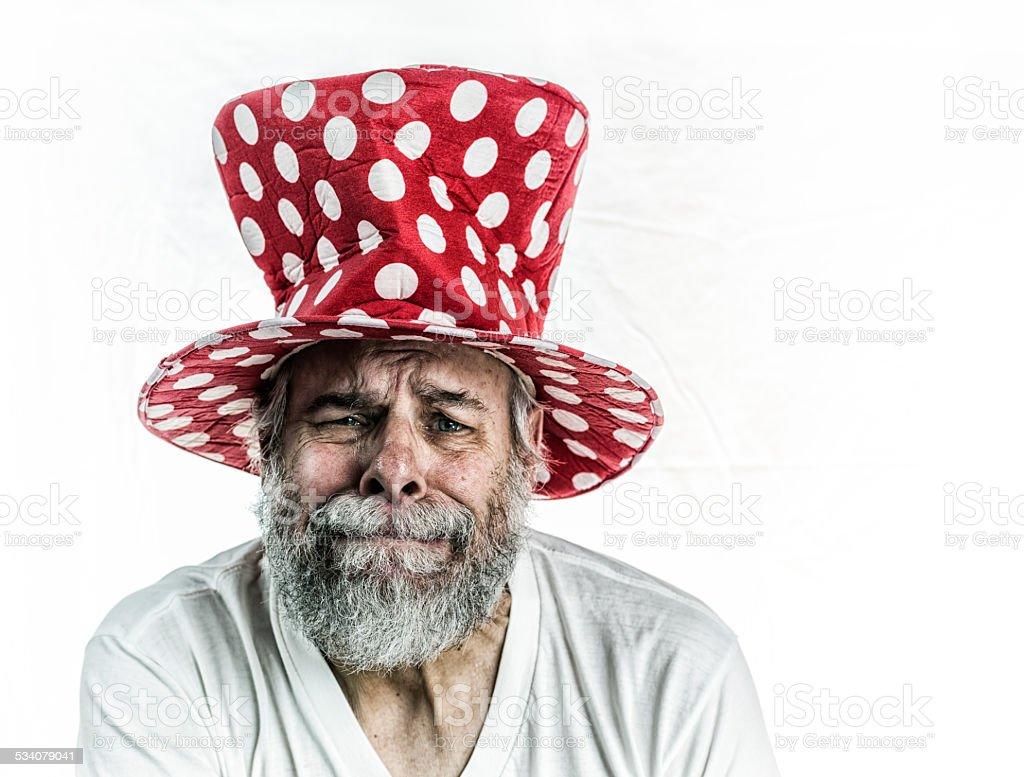 Crying Clown Top Hat Senior Man stock photo