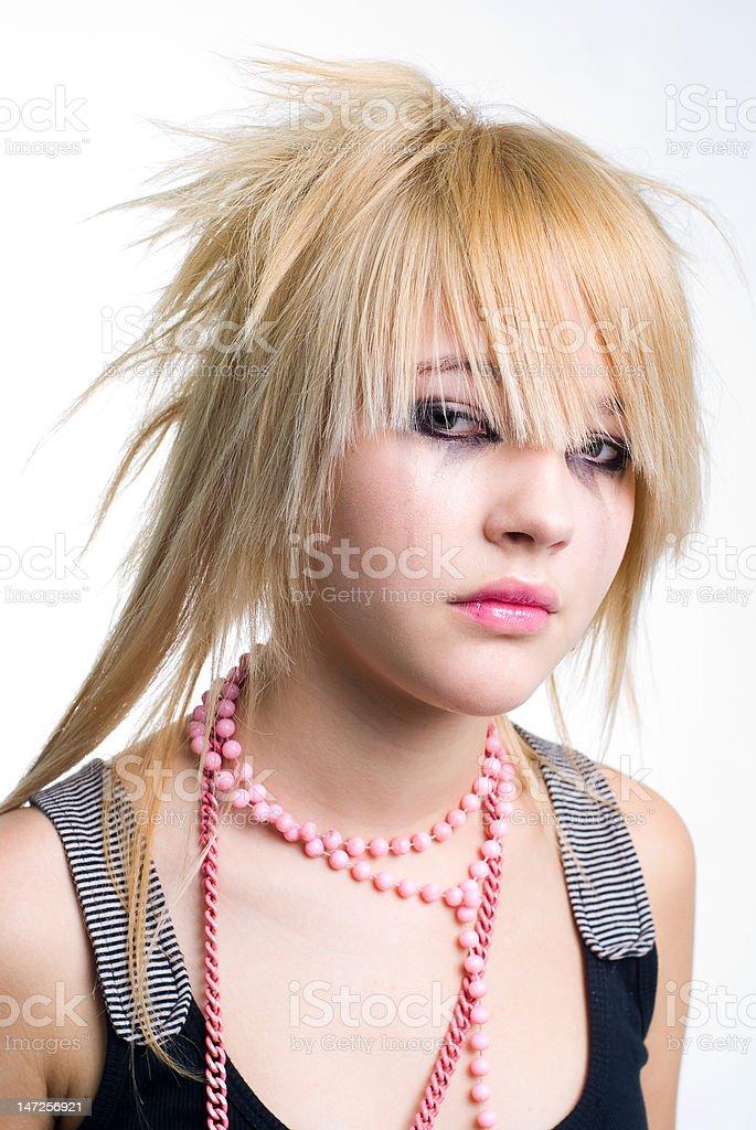 Crying emo girl portrait royalty-free stock photo