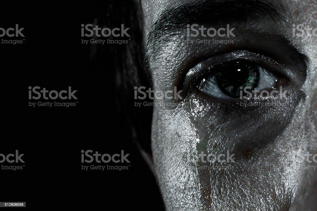 Crying female eye stock photo
