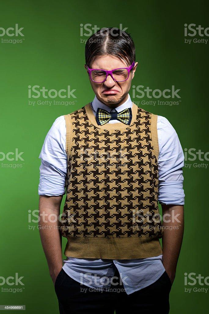 crying geek stock photo