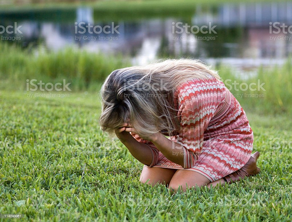 Crying in the park royalty-free stock photo
