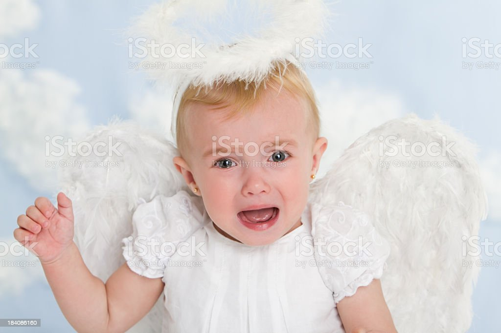 Crying little angel royalty-free stock photo
