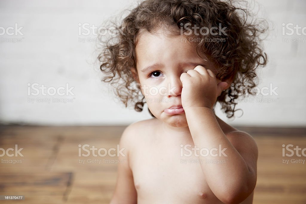 Crying Mixed Race Toddler Girl stock photo