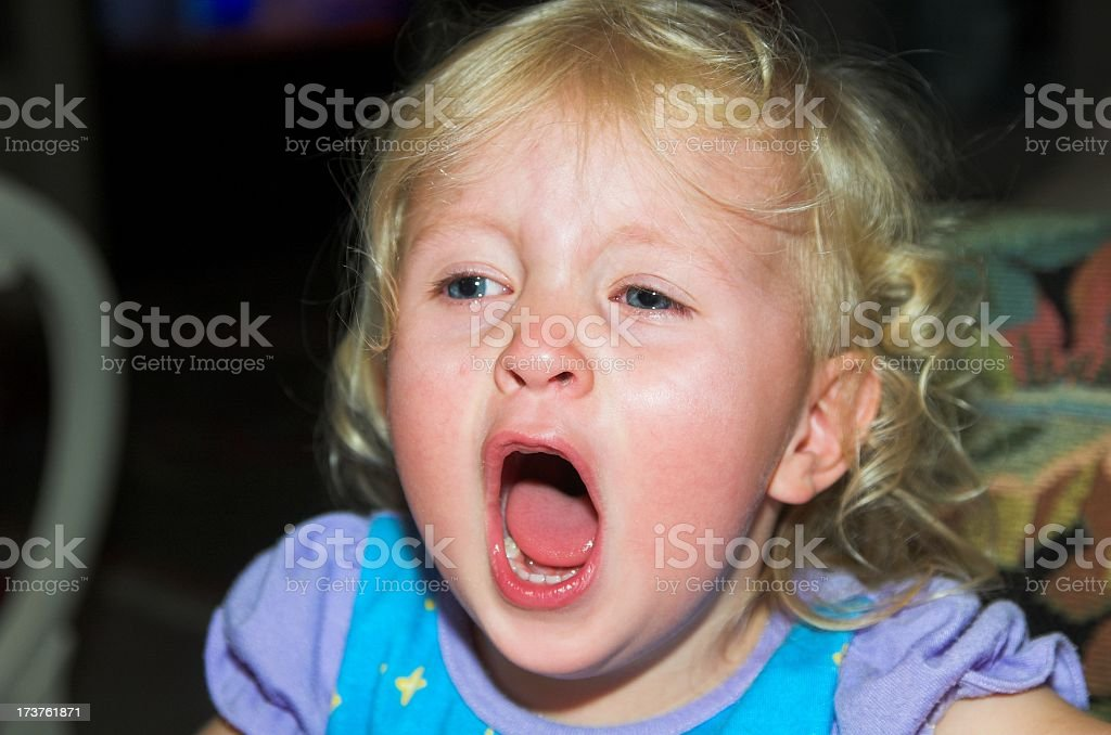 Crying, screaming blonde child royalty-free stock photo