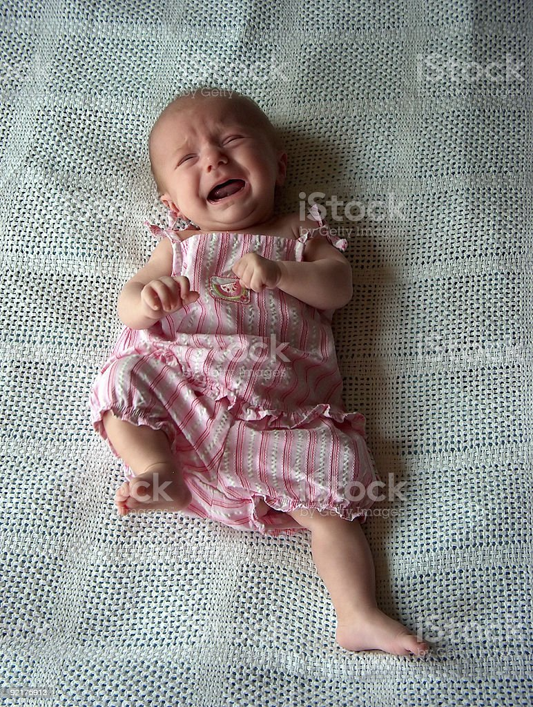 Crying Three-Month Old Baby royalty-free stock photo