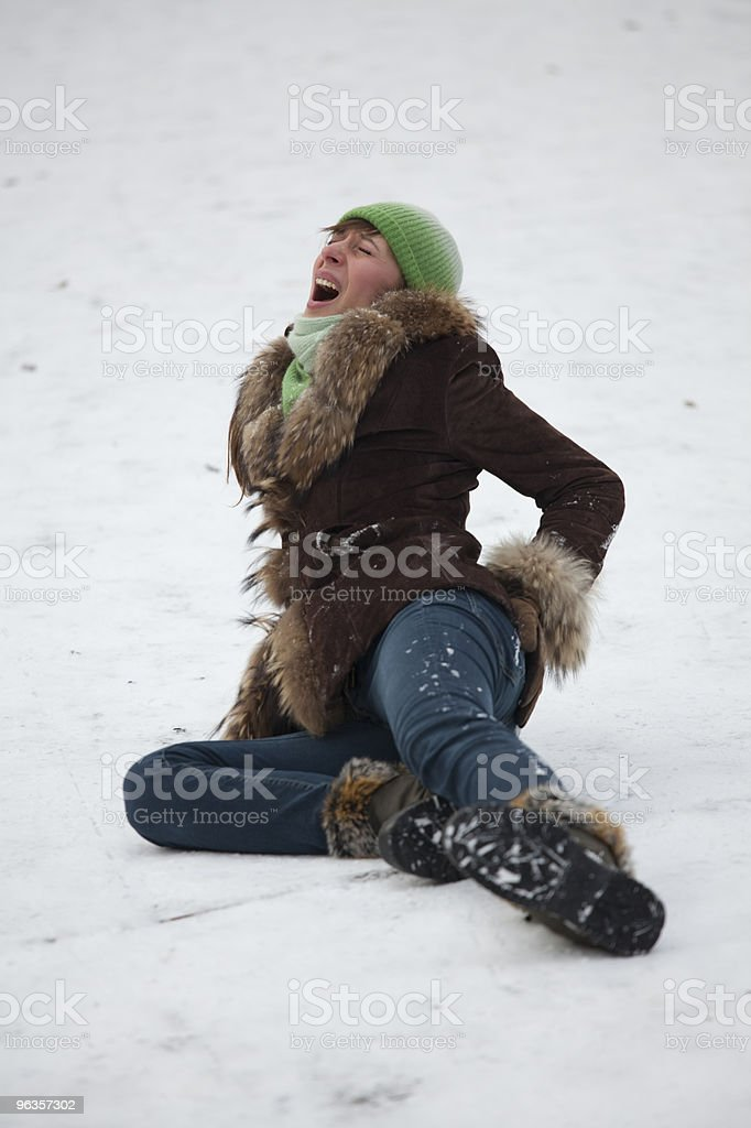 crying woman on the snowy road stock photo