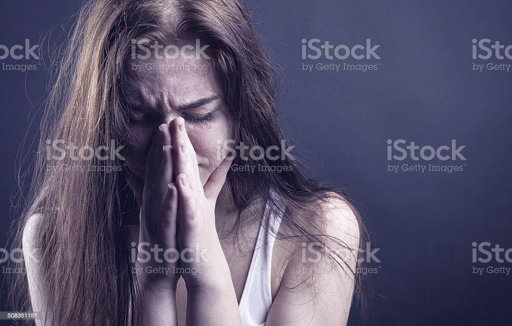 Crying woman stock photo