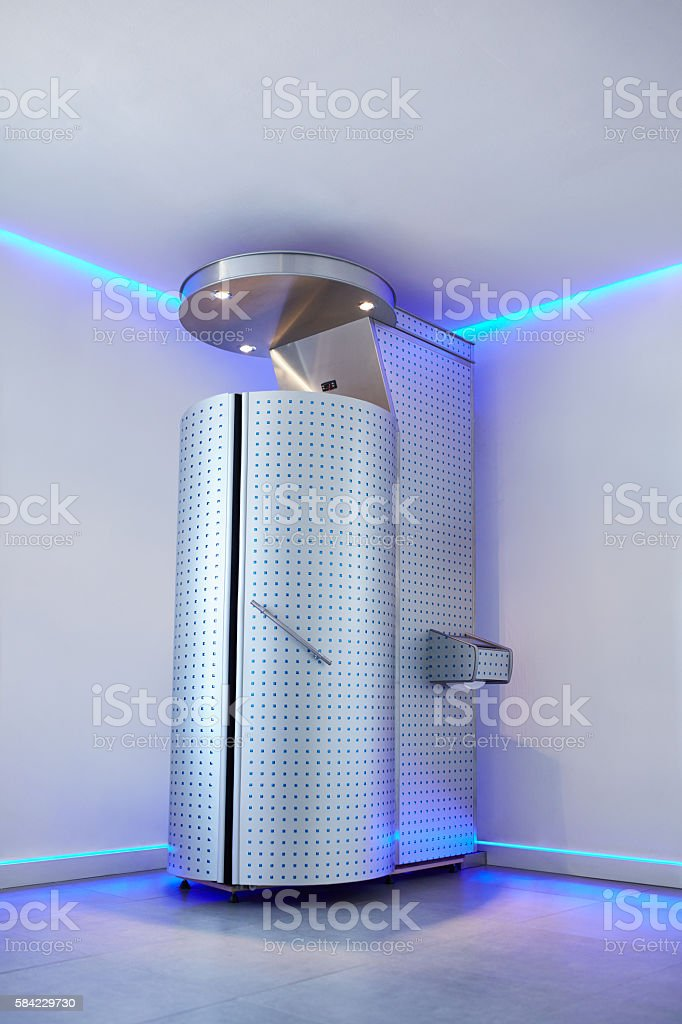 Cryotherapy capsule in cosmetology clinic stock photo