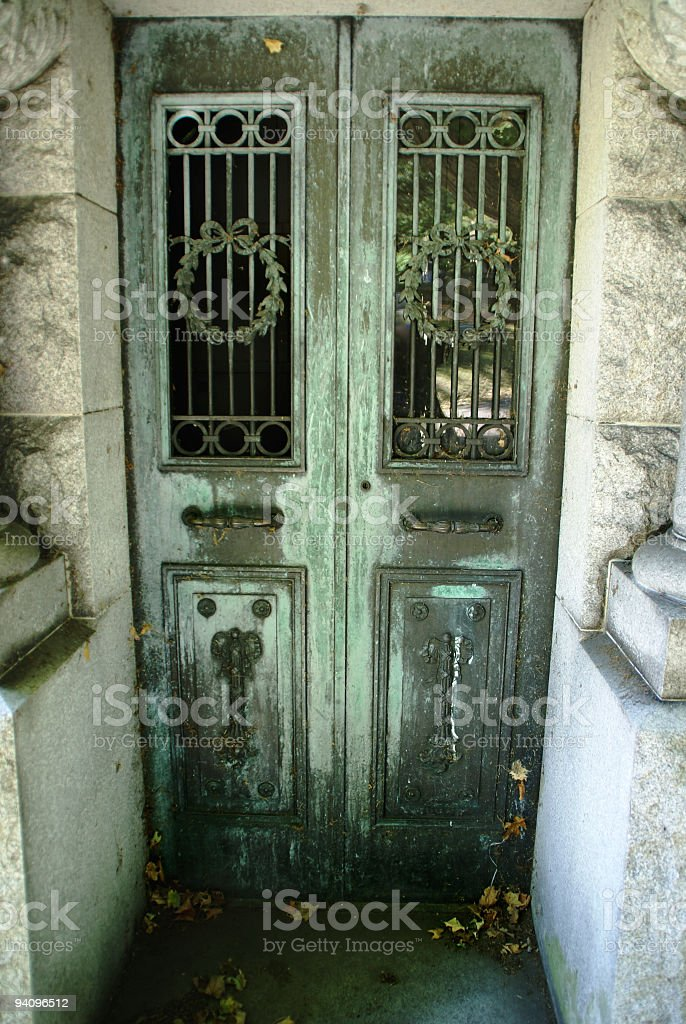 Crypt Door with Wreaths stock photo
