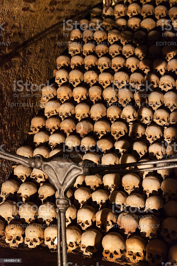crypt in the Ossuary of St James Church, Brno stock photo