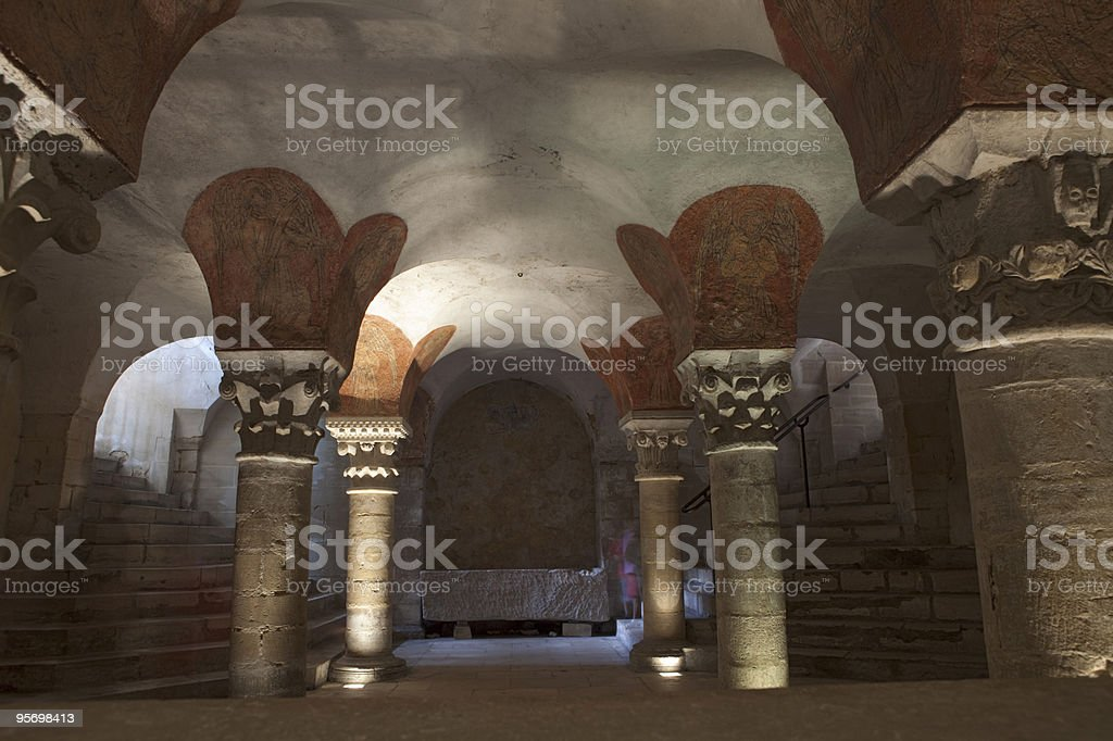 crypt of Bayeux' Notre Dame Cathedral stock photo
