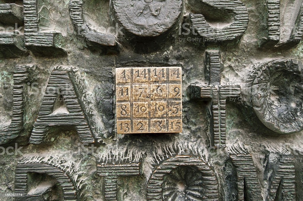 Cryptogram of Sagrada Familia stock photo