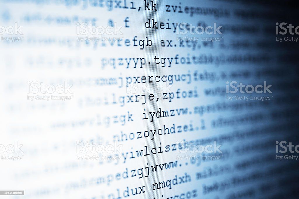 Cryptographic codes with blue tone stock photo