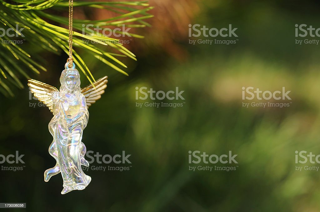 crystal angel decoration on Christmas tree royalty-free stock photo
