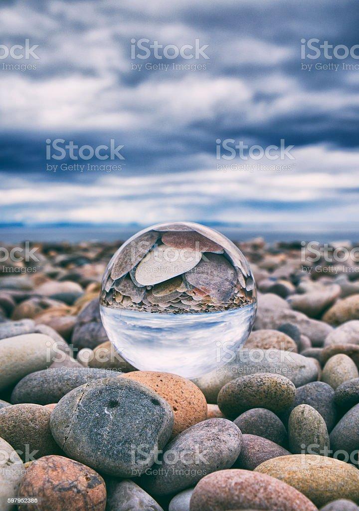 Crystal Ball And Stony Beach stock photo