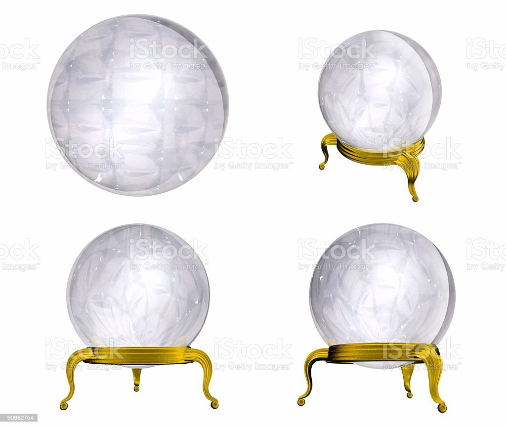 Crystal Ball four view (Isolated) royalty-free stock photo