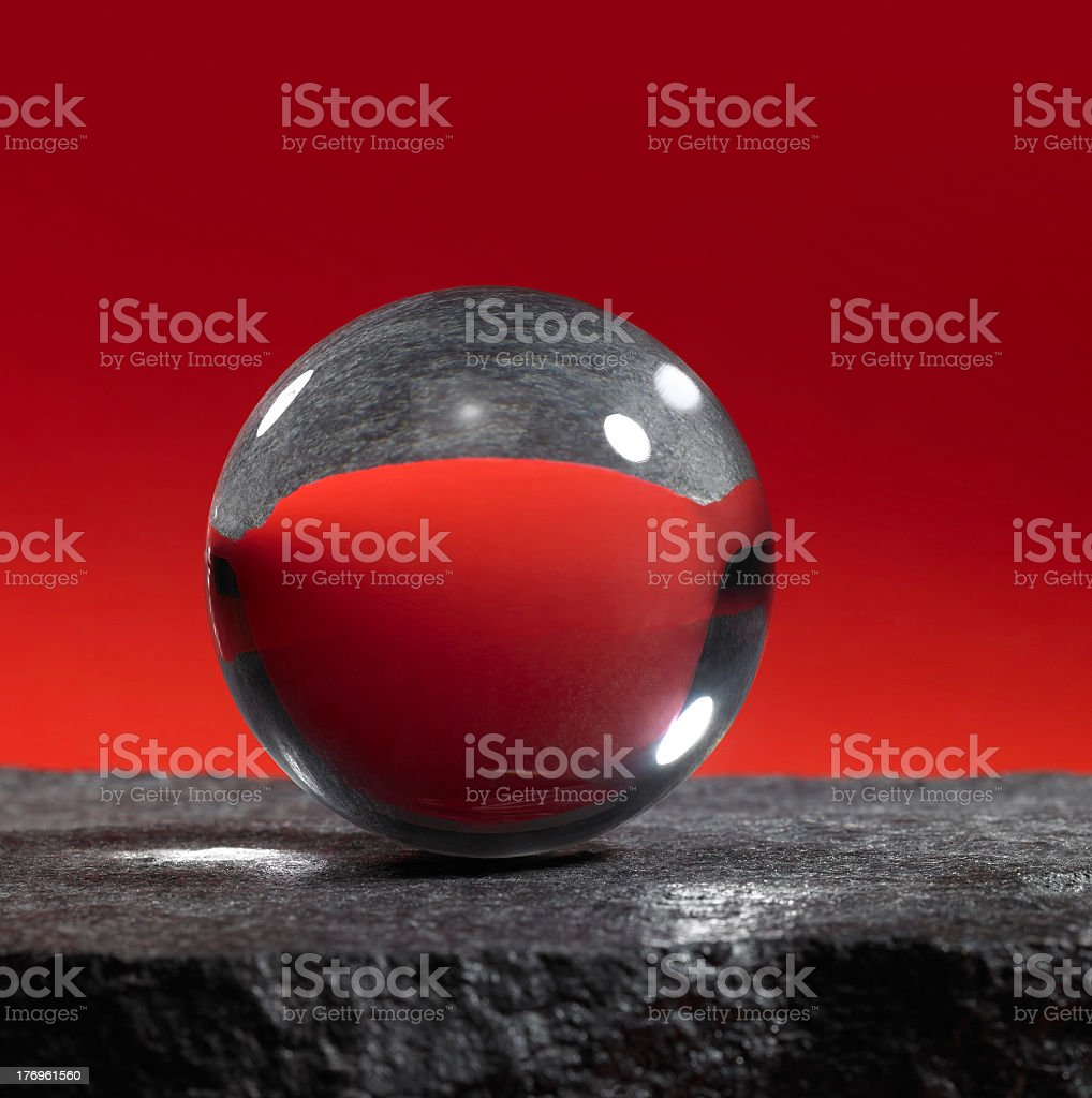 crystal ball in red back royalty-free stock photo