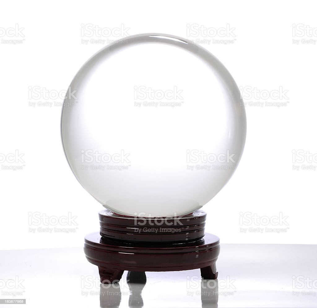 Crystal ball on a brown stand with a white background stock photo