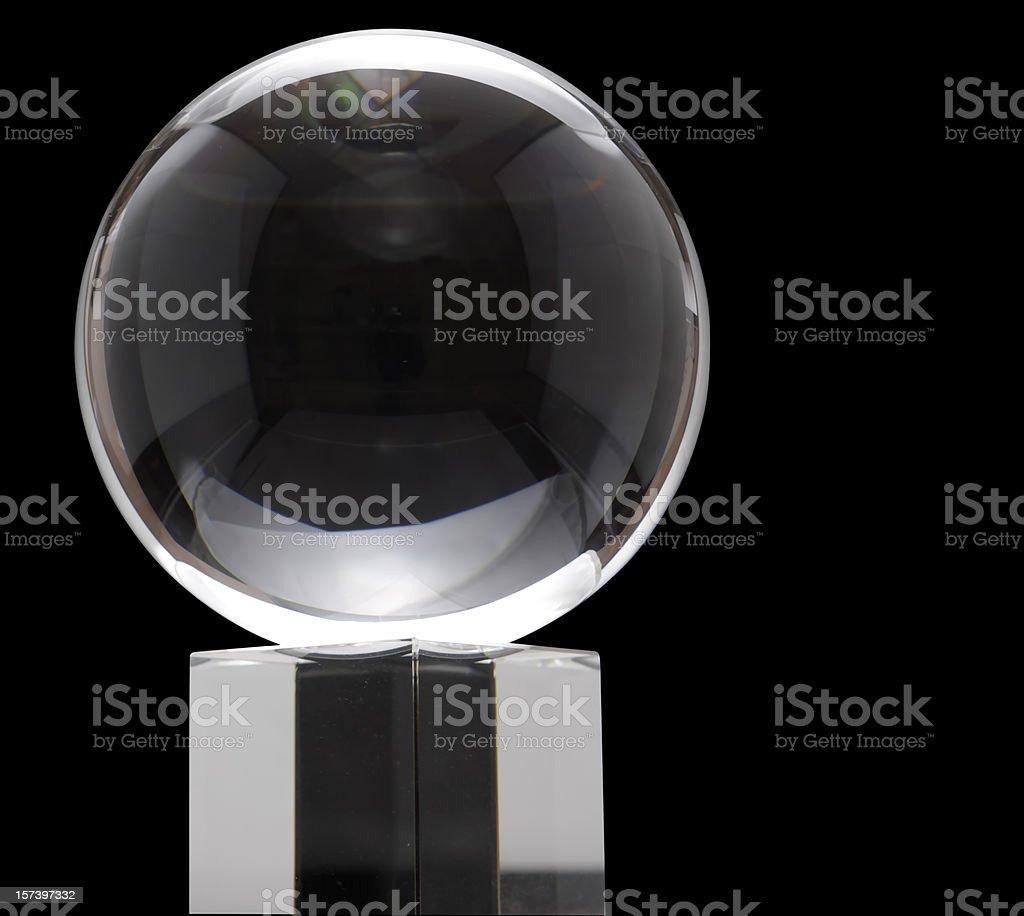 Crystal ball on black background stock photo
