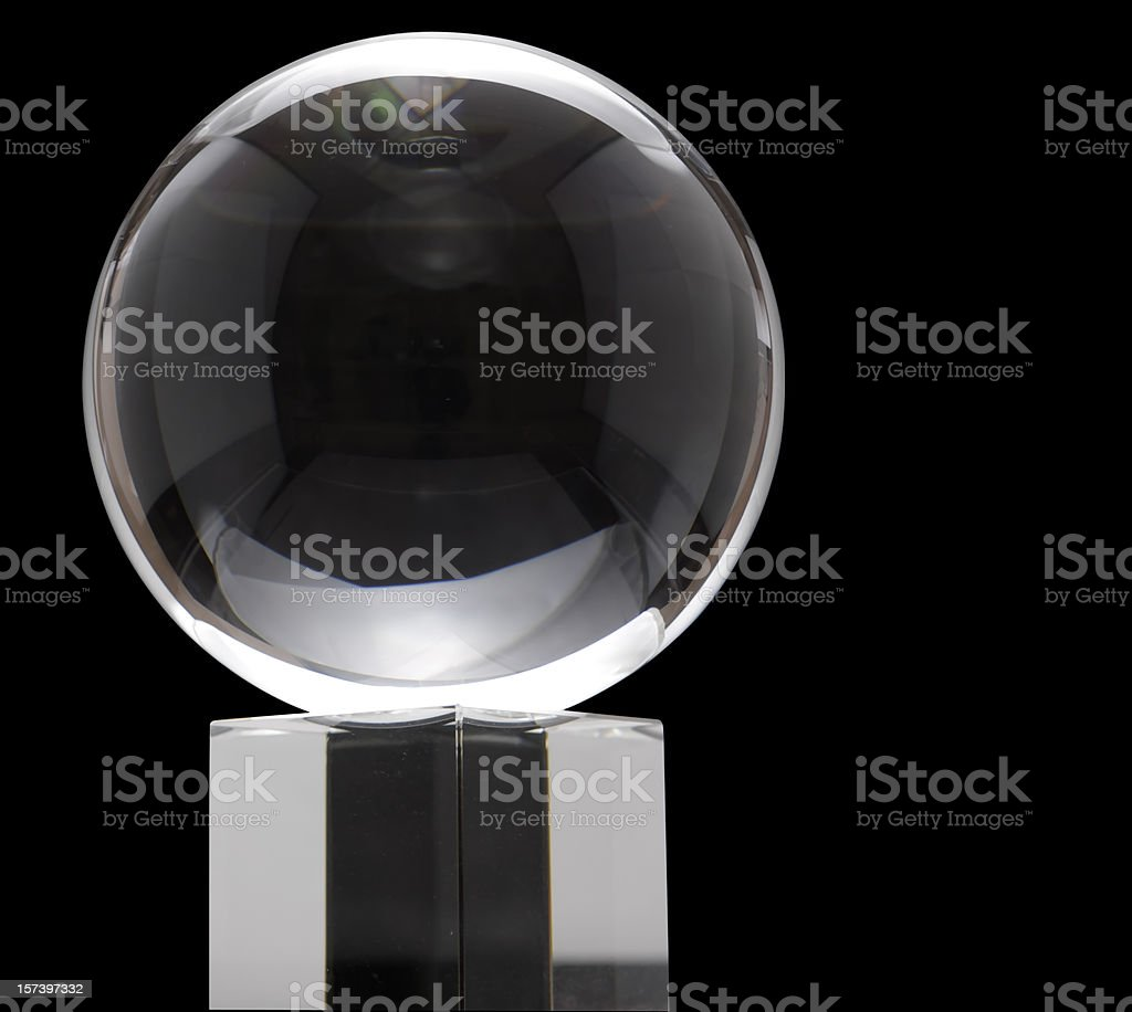 Crystal ball on black background stock photo