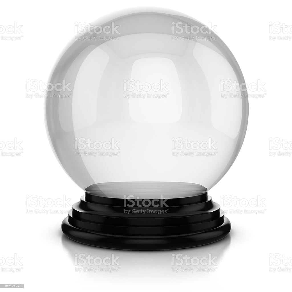 Crystal ball with a plain white background stock photo