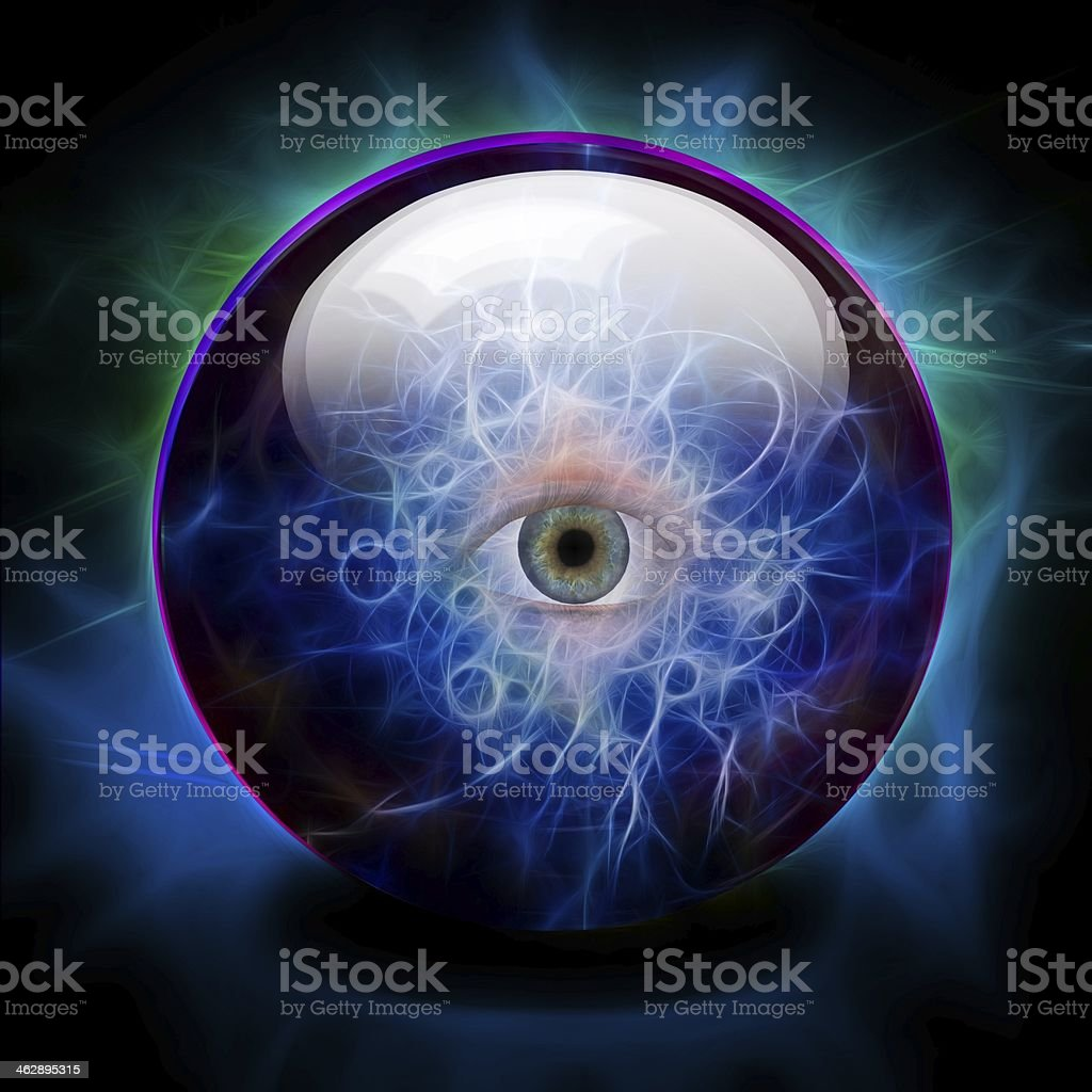 Crystal Ball with all seeing eye stock photo