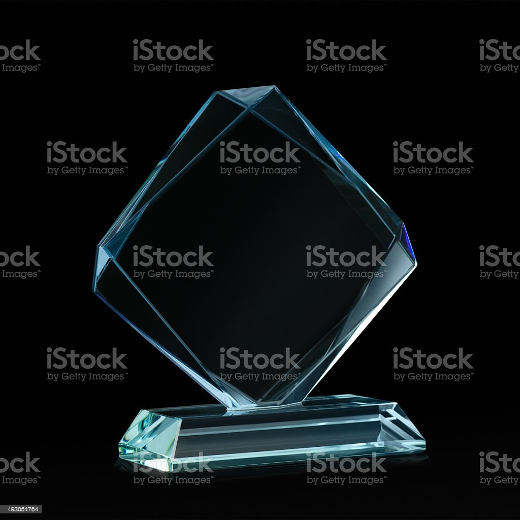 Crystal blank for award on black stock photo