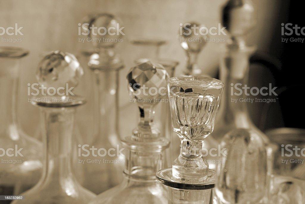 Crystal carafes at a Roman flea market royalty-free stock photo