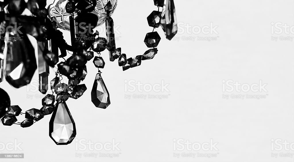 crystal Chandelier in black & white, copy space stock photo