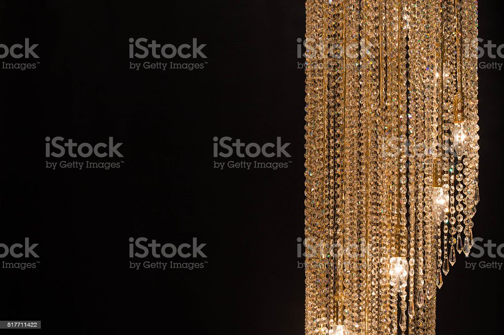 crystal chandelier on the black background stock photo