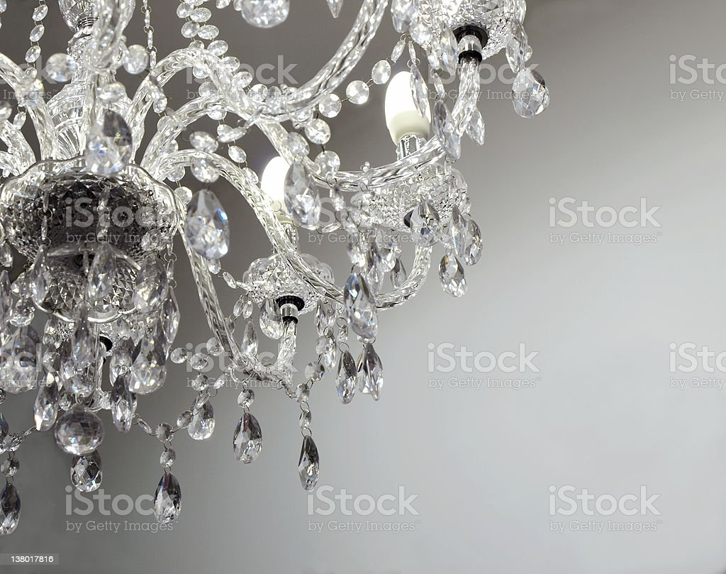 crystal chandelier with bright copy space stock photo